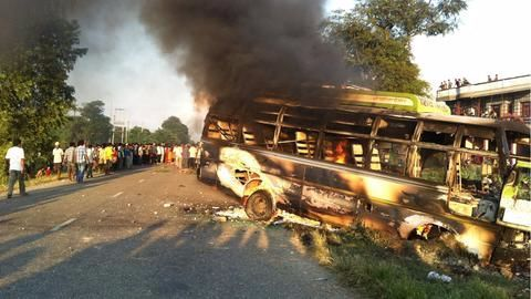 Bareilly- At least 22 killed as bus collides with truck