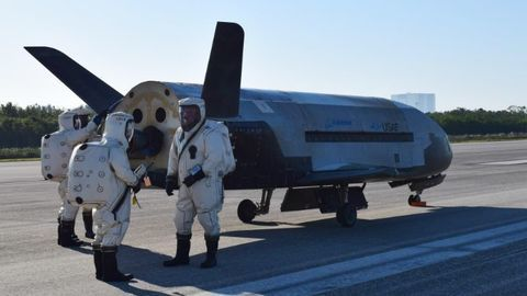 US military space plane returns after record-setting mission