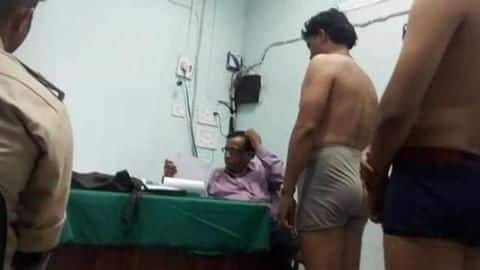 In MP, male-doctor examines women-constables beside male-recruits in underwear