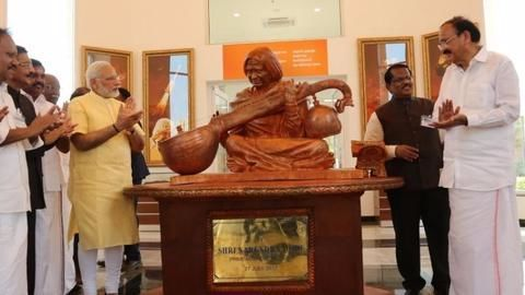 Controversial engraved Gita near Kalam's memorial statue