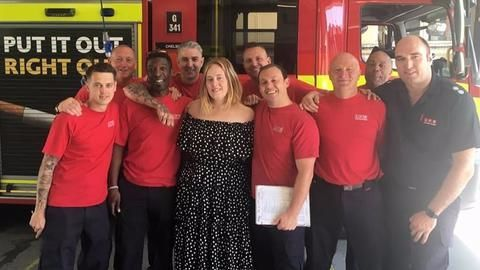 Adele's 'tea and a cuddle' moments with London firefighters