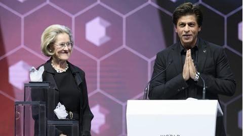 Shah Rukh gets Crystal Award for human rights at Davos