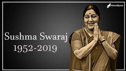 #RIPSushmaSwaraj: BJP stalwart cremated with state honors, daughter performs rites