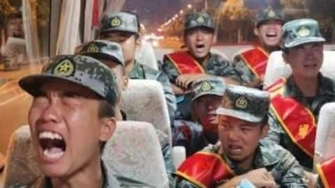 Chinese soldiers seen crying on way to Indian border
