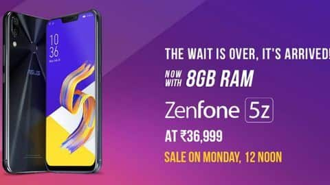 ASUS ZenFone 5Z 8GB/256GB variant available from July 30