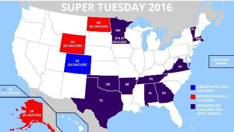 The 'Super Tuesday 2016' presidential primaries