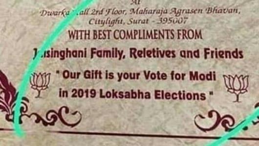 Wedding card asks to vote for PM Modi