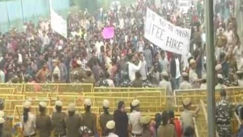 Protesting JNU students clash with police; cops use water cannons