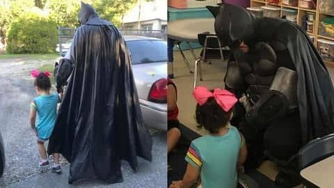 3-year-old was being bullied, so 'Batman' walked her to school