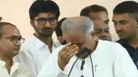 Chhattisgarh CM gets emotional while handing-over state Congress chief post