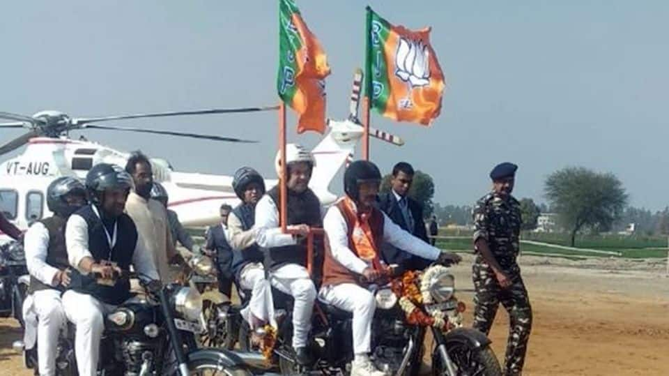 Pillion-riding Amit Shah leads 1L strong rally in Jind, Haryana
