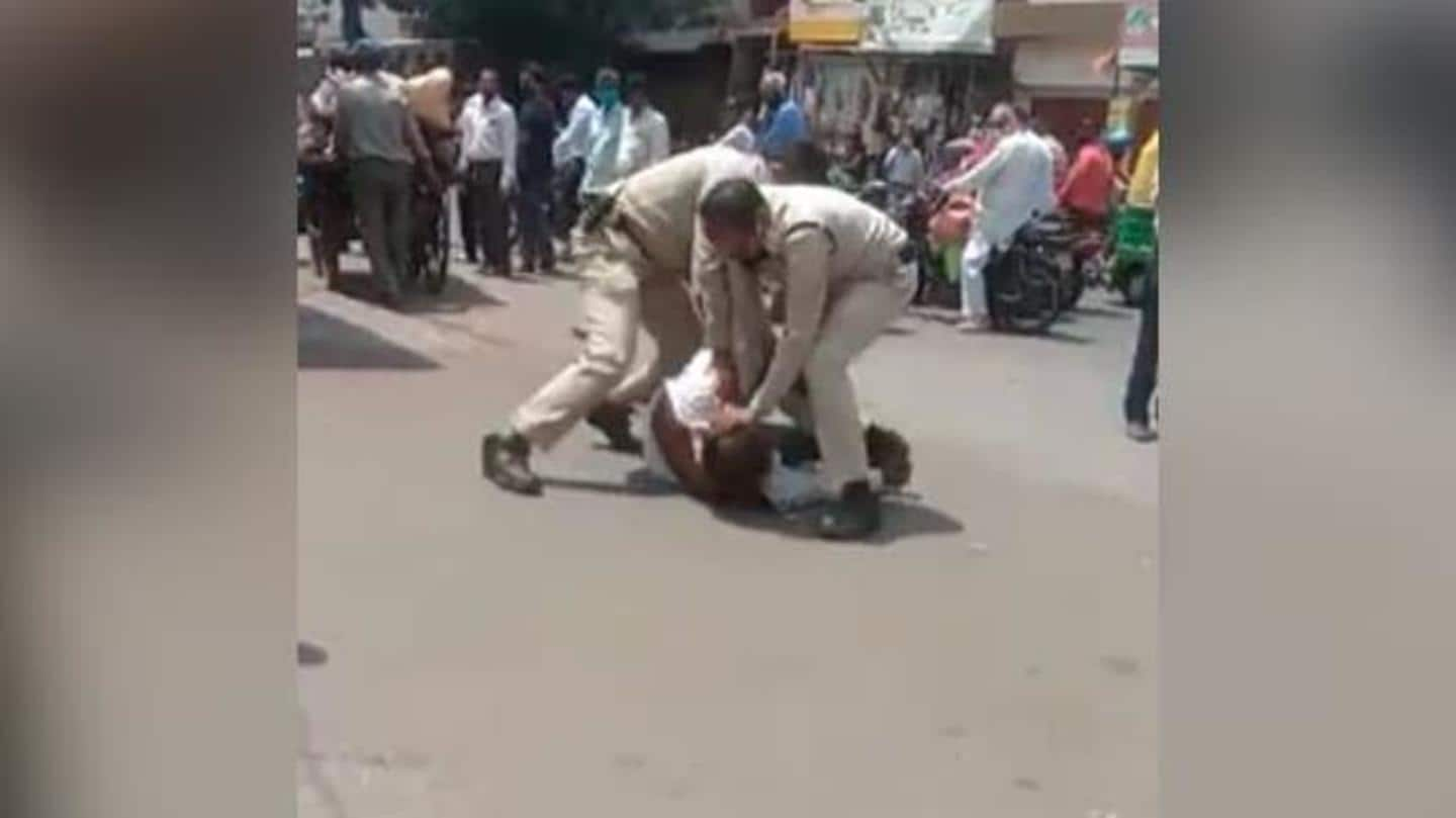 Man, whose mask slipped, beaten severely by cops in MP