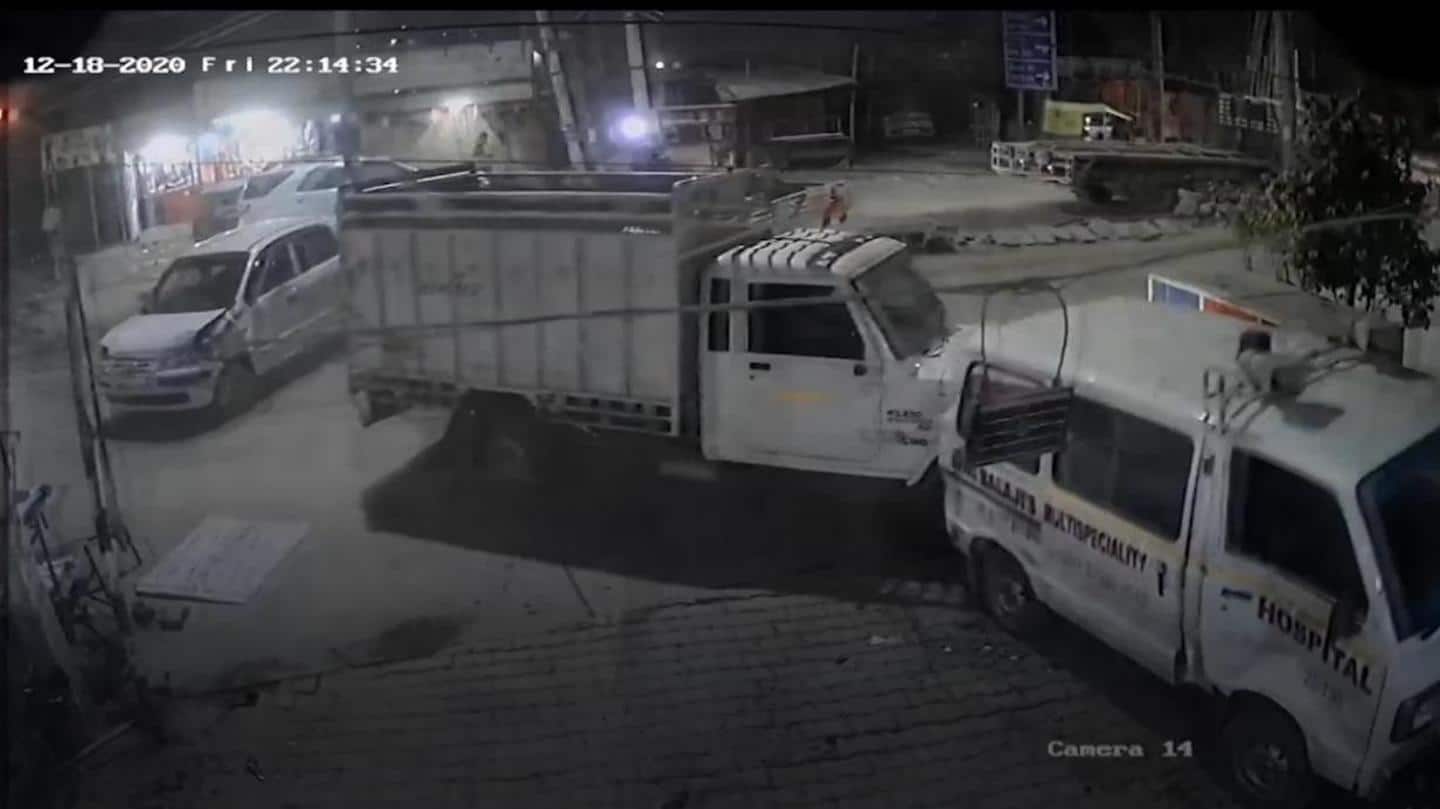 Caught on camera: Patients' relative rams truck inside Gurugram hospital