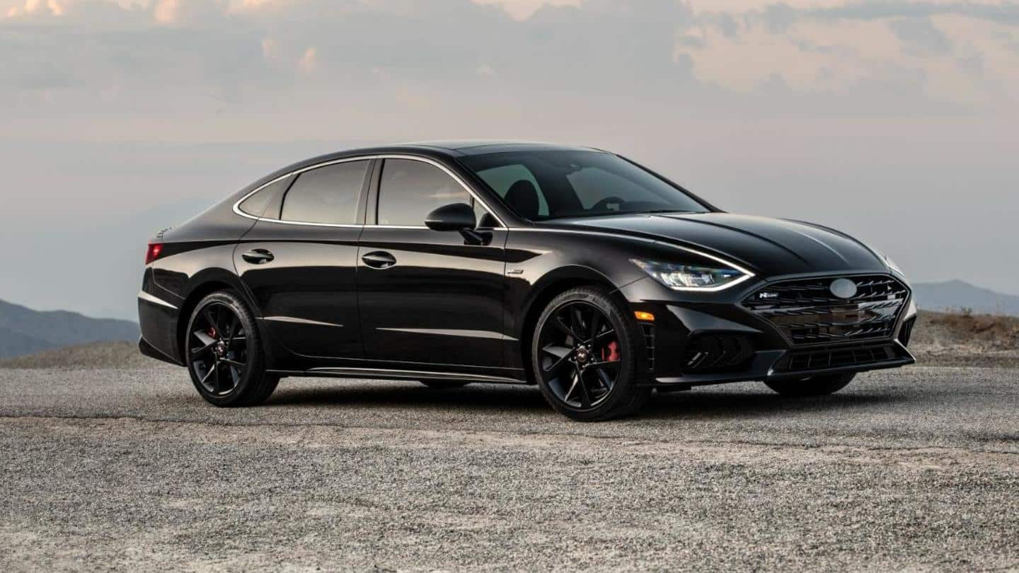 It has a dark chrome grille and 19-inch wheels