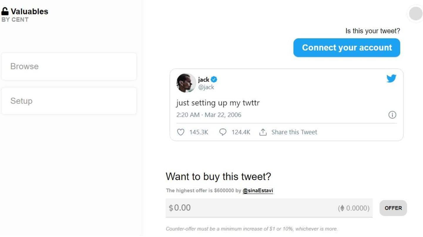 Twitter CEO Jack Dorsey is auctioning off the first-ever tweet